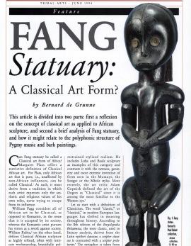 La Statuaire Fang Une forme d'art classique ?