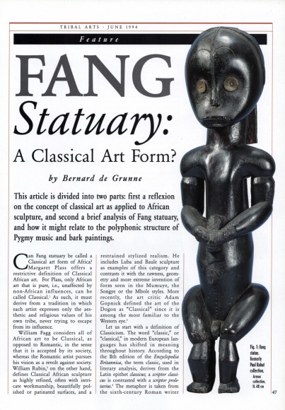 Fang Statuary: A Classical Art Form?