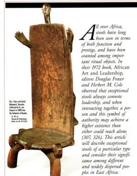 Sièges à haut dossier d'Afrique de l'est: une Tradition Transculturelle
