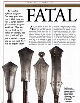 Fatal Beauty: Tips for Collectors of African Weapons
