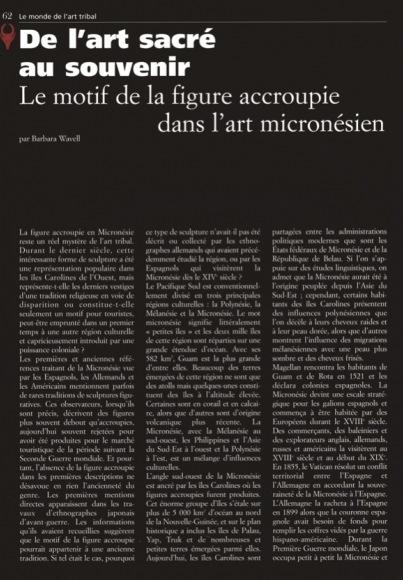 De l'art sacré au souvenir Le motif de la figure accroupie dans l'art micronésien