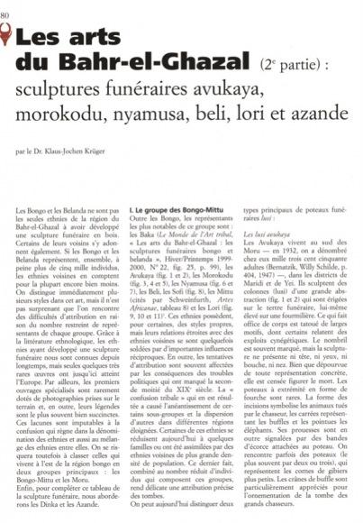 Les arts du Bahr-el Ghazal (2e partie) : sculptures funéraires avukaya, morokodu, nyamusa, beli, lori, et azande