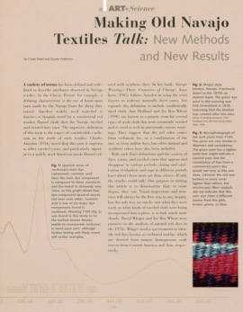 Making Old Navajo Textiles Talk: New Methods and New Results