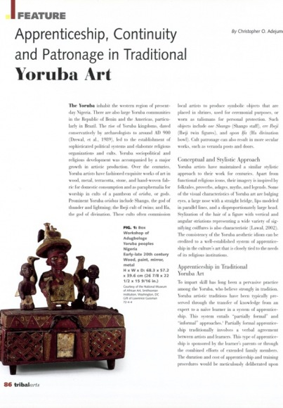 Apprenticeship, Continuity and Patronage in Traditional Yoruba Art