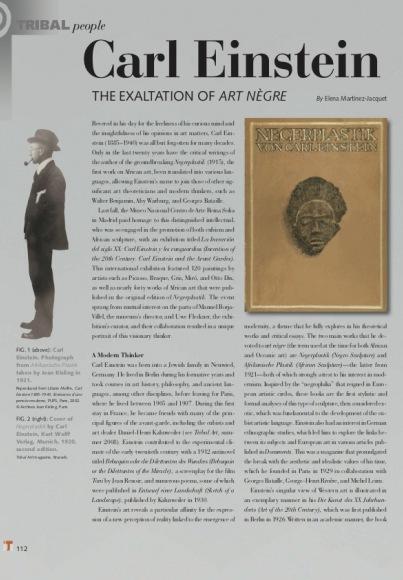Carl Einstein : ou l'exaltation de l'art Nègre